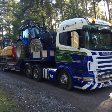 Landmarc Low Loader loaded with Valtra and CAT