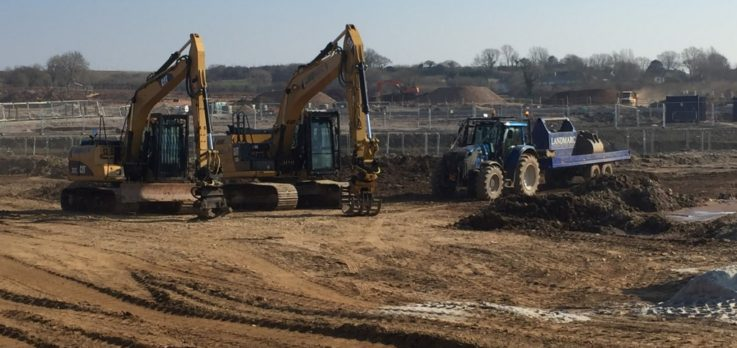 Excavators and earthmoving equipment at Sherford