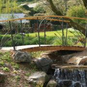 Water feature with bridge