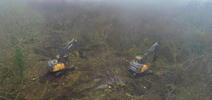 Aerial Volvo excavators forestry clearance