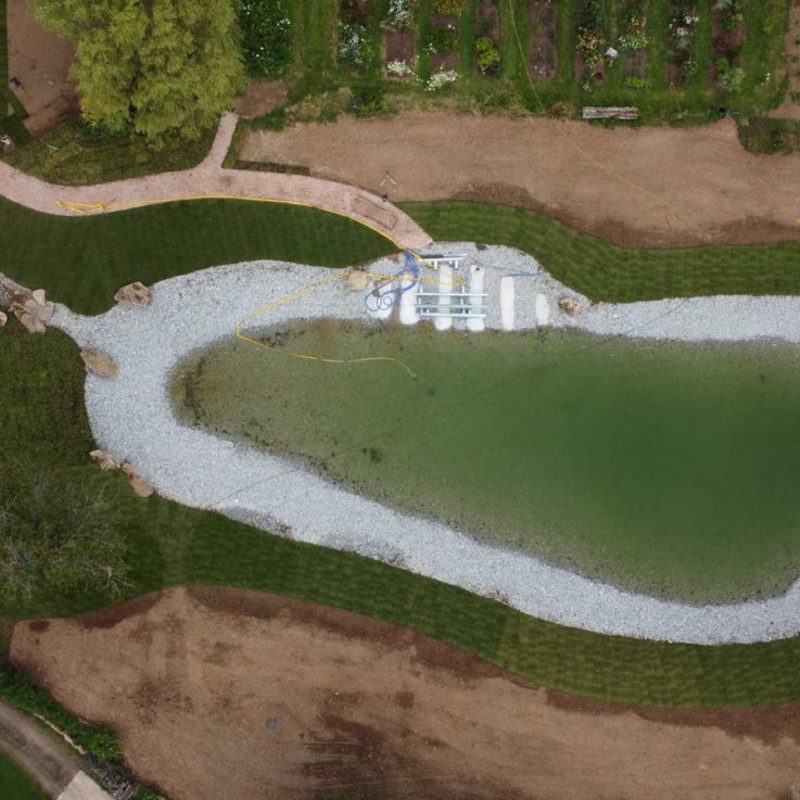 Drone of pool with some turf